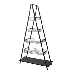 Casual Country Black Metal 5-Tier Ladder Inspired Storage