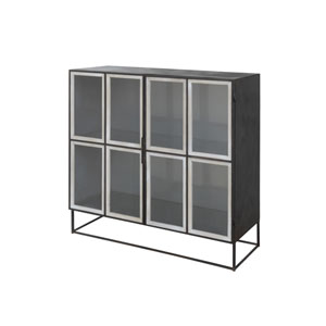 Collected Notions Distressed Black Metal and Glass Cabinet with 2 Shelves