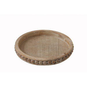 Bungalow Lane Whitewashed Round Decorative Wood Tray