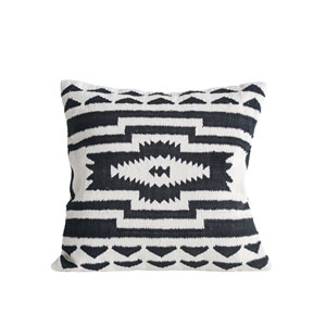 Collected Notions Black and Cream Square Kilim Cotton Pillow