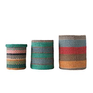 Secret Garden Multicolor Bright Stripes Handwoven Abaca Baskets - Set of 3
