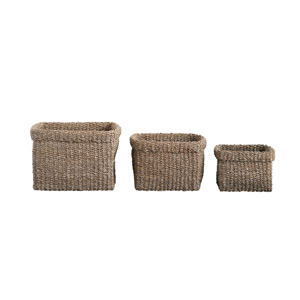 Sonoma Square Natural Woven Seagrass Baskets - Set of 3