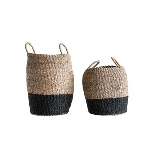 Sonoma Brown and Black Woven Seagrass Baskets with Handles - Set of 2