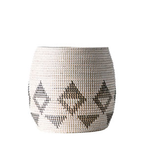 Woven Roots Sturdy White, Black and Brown Natural Seagrass Basket