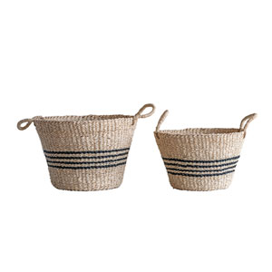 Sonoma Beige Seagrass Baskets with Black Stripes and Handles - Set of 2