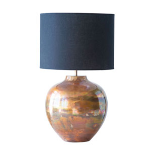 Sonoma Metal Table Lamp with Copper Finish and Black Fabric Shade
