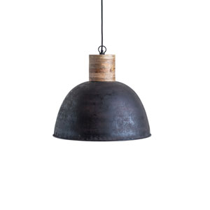 Sonoma Black Metal Pendant Light with Wood Neck