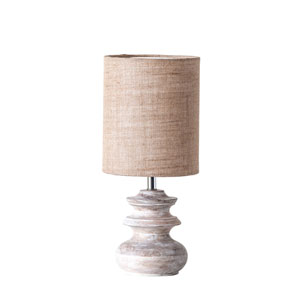 Chateau Small Bleached Mango Wood Table Lamp with Jute Shade