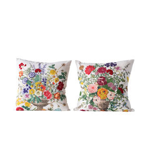 Chateau Multicolor Square Cotton Blend Pillow with Embroidered Flowers - Set of 2