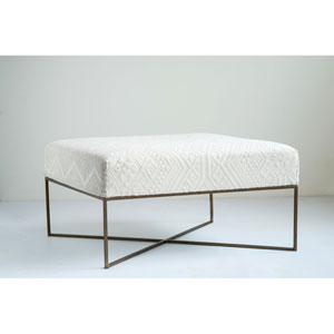 Collected Notions Cream Woven Damask Upholstered Ottoman with Antique Brass Metal Frame