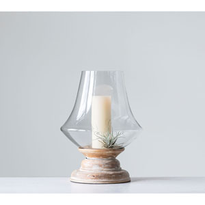 Sonoma Large Whitewashed Mango Wood and Clear Hand-blown Glass Hurricane
