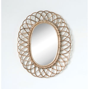 Woven Roots Oval Bamboo Wall Mirror
