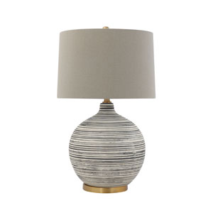 Collected Notions Textured Black and White Striped Ceramic Table Lamp with Grey Linen Shade