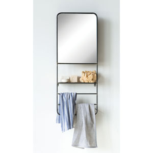 Urban Homestead Black Metal Wall Mirror with Rods and Shelf