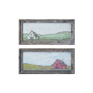Sonoma Multicolor Barn Scene Wall Decor in Distressed Grey Wood Frame - Set of 2