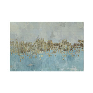 Shoreline Blue Abstract with Gold Accents Wood Wall Decor