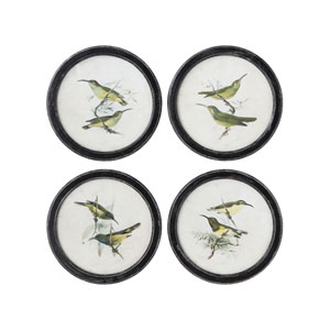 Collected Notions Multicolor Birds on Twigs Wall Decor in Distressed Black Round Frame - Set of 4