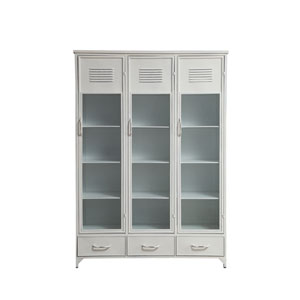 Urban Homestead Metal and Glass Locker Style Cabinet with 3 Drawers and 15 Compartments