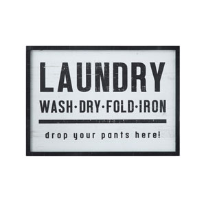 Casual Country Laundry, drop your pants here! Wood Framed Wall Decor