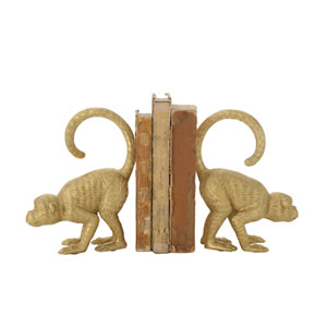Woven Roots Gold Resin Monkey Bookends - Set of 2