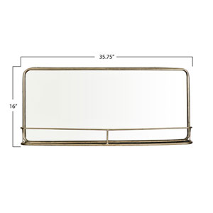 Silver  Metal Framed Mirror with Shelf