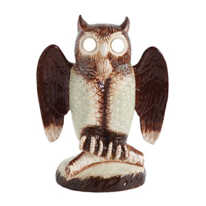 Trick or Treat Brown Ceramic Owl with LED Eye