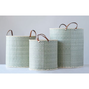 Country Christmas Green Seagrass Round Basket with Leather Handle, Set of 3
