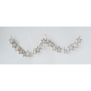 Shimmer White Metal and Fabric Star Shaped Garland