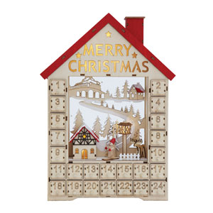 Country Christmas Multi-Colored Wood House Shaped Advent Calendar with Numbered Box and LED Light