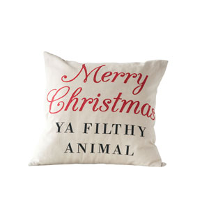 Whimsy Multi-Colored Merry Christmas Ya Filthy Animal Square Cotton Pillow
