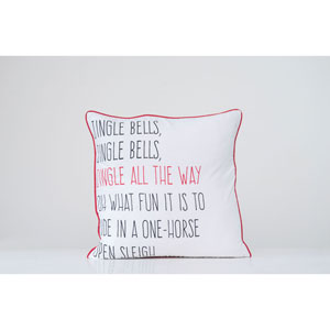 Country Christmas Multi-Colored Jingle Bells Square Cotton Pillow