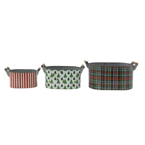 Critter Green Metal Bucket with Holiday Pattern and Wood Handle, Set of 3