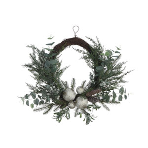 Critter Green Faux Pine Wreath with Eucalyptus, Brich Ball and Pinecone