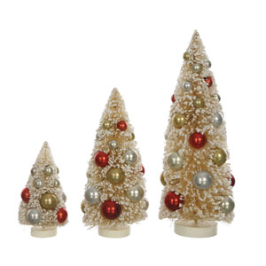 Boughs of Holly Multi-Colored Bottle Brush Tree with Ornament, Set of 3