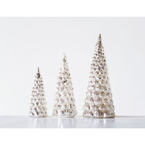 Shimmer Silver Embossed Mercury Glass Tree, Set of 3