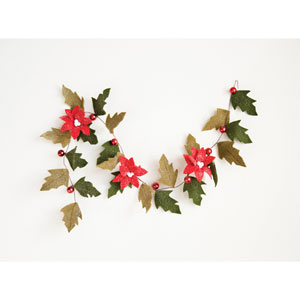 Christmas Market Red and Green Felt Poinsettia Garland