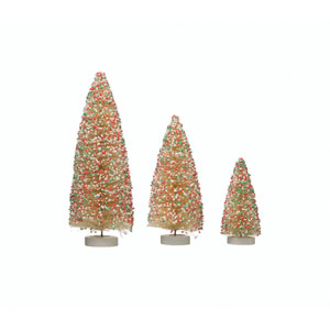 Oh What Fun! White Bottle Brush Tree with Sprinkle on Wood Base, Set of 3