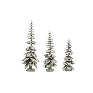 Vintage Christmas Green and White Paper Tree Figurine with Heavy Beaded Glitter, Set of 3