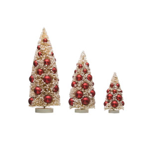 Vintage Christmas White and Red Bottle Brush Tree with Ornament, Set of 3