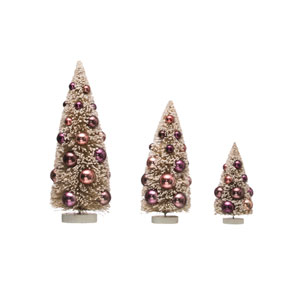 Sugar Plum Plum and Cream Bottle Brush Tree with Ornament on Wood Base, Set of 3