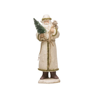 Vintage Christmas White and Gold Paper Mache Santa with Bottle Brush Tree and Sack