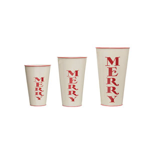 Christmas Market White and Red Decorative Merry Metal Container with Rim, Set of 3