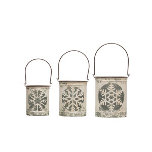 Critter Distressed White Metal Lantern with Snowflake Cutout and Handle, Set of 3