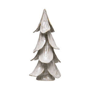 Boughs of Holly White 16-Inch Handmade Stoneware Tree