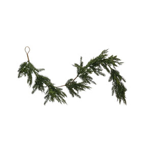 Christmas Market Green Faux Boxwood and Pine Garland