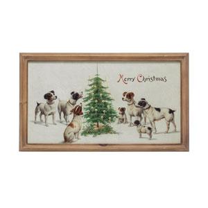 Vintage Christmas Multi-Colored Merry Christmas Wall Art with Dog and Wood Frame