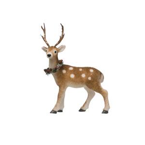 Vintage Christmas Brown Standing Deer with Wreath Figurine