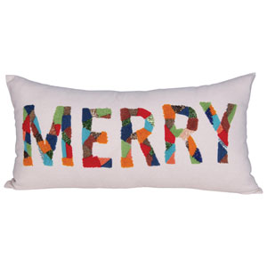 Boho Multi-Colored Merry Cotton Rectangular Pillow with Appliqued Bead