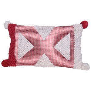 Country Christmas Red and White Textured Cotton Woven Lumbar Pom Pillow