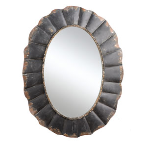 Black Oval Metal Framed Mirror